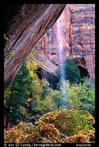 Cliff and waterfall, near  first Emerald Pool. Zion National Park (color)