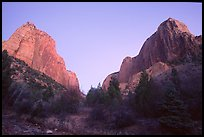 Middle Fork of Taylor Creek, one of  Finger canyons, sunset. Zion National Park, Utah, USA. (color)