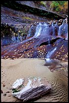 Cascade over smoothly sculptured rock, Left Fork of the North Creek. Zion National Park, Utah, USA. (color)
