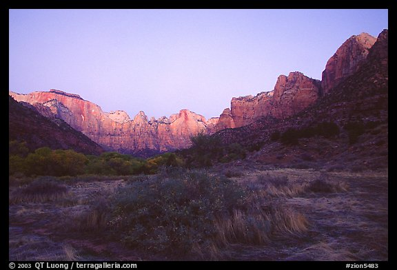 Towers of the Virgin from behind  Museum, dawn. Zion National Park (color)