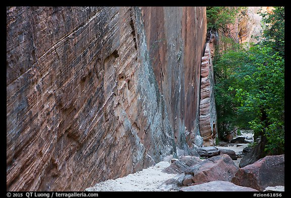 Tall steep cliff, Hidden Canyon. Zion National Park (color)