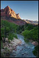 Virgin River and Watchman in summer. Zion National Park ( color)