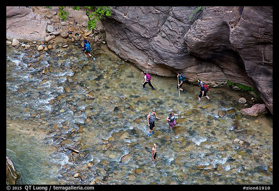 Virgin River Narrows hikers from above. Zion National Park (color)