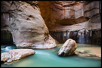 Boulders, Virgin River, and canyon walls, the Narrows. Zion National Park ( color)