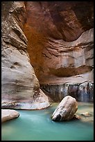 Virgin River flowing around boulders in the Narrows. Zion National Park ( color)