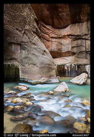 Virgin River flowing over boulders, the Narrows. Zion National Park (color)