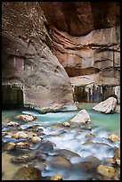 Virgin River flowing over boulders, the Narrows. Zion National Park ( color)