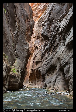 Hikers silhouettes, Virgin River Narrows. Zion National Park (color)