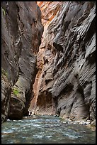 Hikers silhouettes, Virgin River Narrows. Zion National Park ( color)