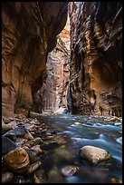 Virgin River flowing between soaring walls, the Narrows. Zion National Park ( color)