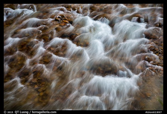 Close-up of Virgin River flowing over pebbles. Zion National Park (color)