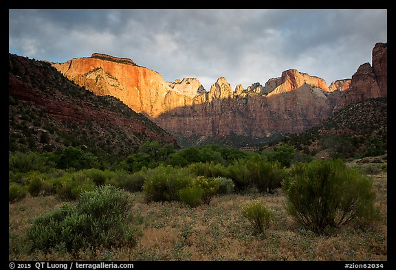 Towers of the Virgin, stormy sunrise. Zion National Park (color)