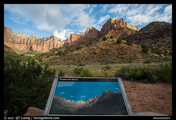 Temples and Towers intepretive Sign. Zion National Park (color)
