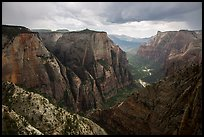 Thunderstorm over Zion Canyon from above. Zion National Park ( color)
