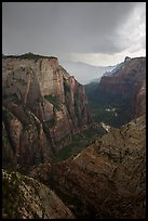 Dark storm clouds over Zion Canyon. Zion National Park ( color)