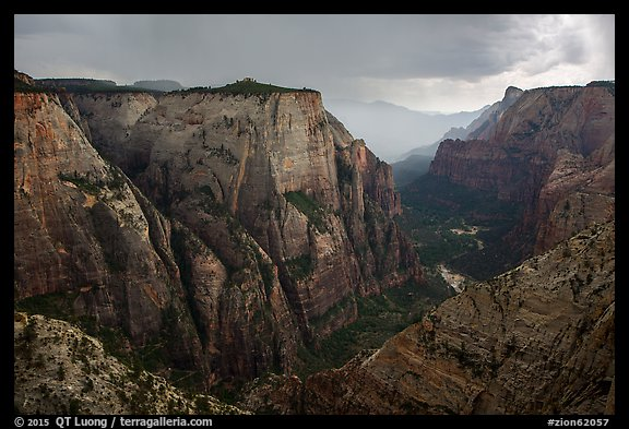 Zion Canyon during afternoon thunderstorm. Zion National Park (color)