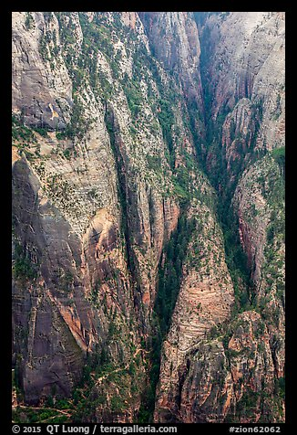 Distant view of Hidden Canyon with trail. Zion National Park (color)
