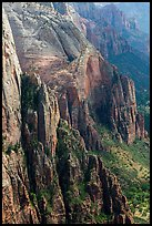 Rock towers bordering Zion Canyon from above. Zion National Park ( color)