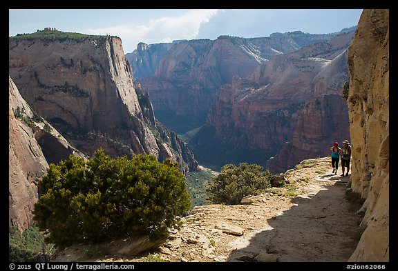 Hikers on East Rim trail. Zion National Park (color)