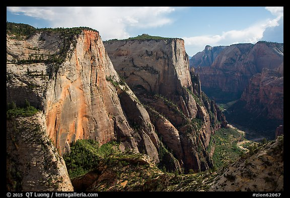 Cable Mountain and Zion Canyon. Zion National Park (color)