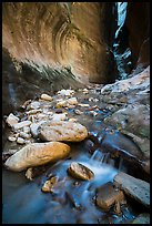 Cascading stream and boulders, Orderville Canyon. Zion National Park ( color)