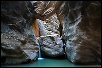 Large boulder creating waterfall with a second boulder suspended above, Orderville Canyon. Zion National Park ( color)