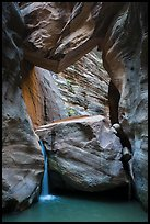 Large boulder creating waterfall with Guillotine boulder above, Orderville Canyon. Zion National Park ( color)