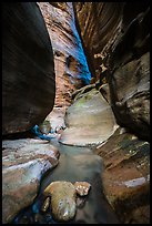 Stream in slot canyon, Orderville Canyon. Zion National Park ( color)