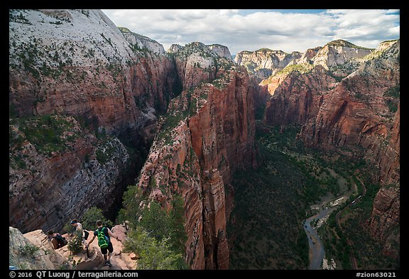 Hikers on Angels Landing Trail. Zion National Park (color)