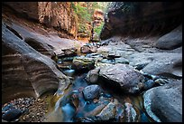 Cascades and boulders, Left Fork. Zion National Park ( color)