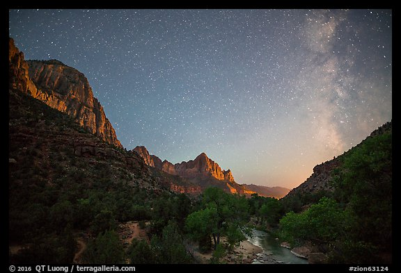 Virgin River, Watchman, and Milky Way. Zion National Park (color)