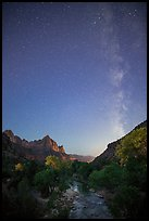Virgin River, Watchman, and Milky Way at dawn. Zion National Park, Utah, USA.
