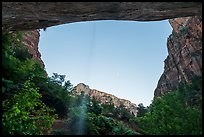 View from beneath alcove with water trickle, dusk. Zion National Park ( color)