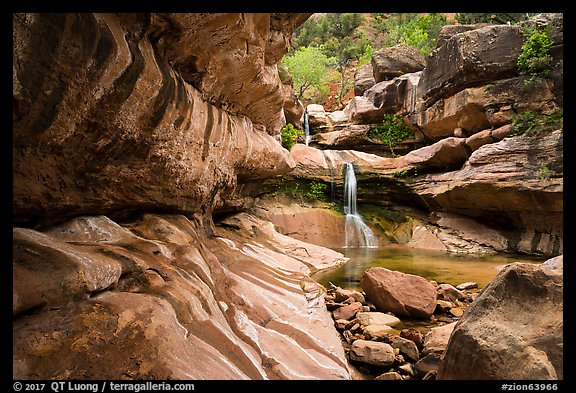 Pine Creek Canyon with waterfall. Zion National Park (color)