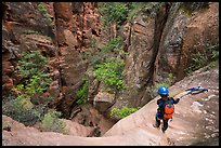 Canyonneers rapples into the bottom of Behunin Canyon. Zion National Park, Utah ( color)
