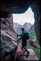 Preparing for final rappel in Behunin Canyon. Zion National Park, Utah ( color)