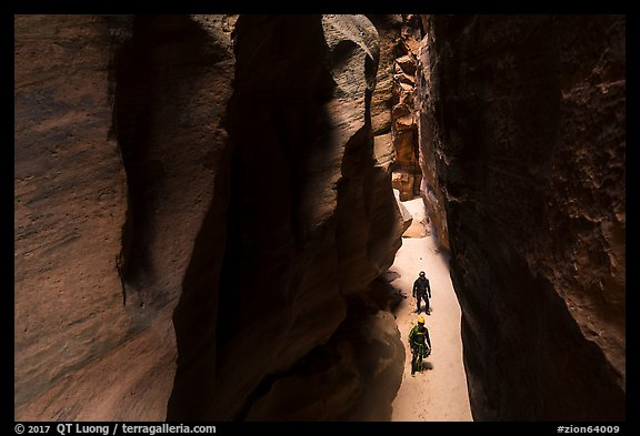 Canyonneers walk in Pine Creek Canyon narrows. Zion National Park, Utah (color)