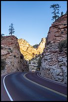 Car approaching on Carmel-Zion Road. Zion National Park ( color)