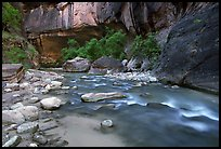 Alcove and Virgin River in the Narrows. Zion National Park, Utah, USA.