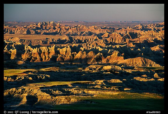 View over eroded ridges from Pinacles overlook, sunrise. Badlands National Park (color)