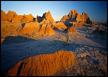 Mudstone formations, Cedar Pass, sunrise. Badlands National Park, South Dakota, USA. (color)