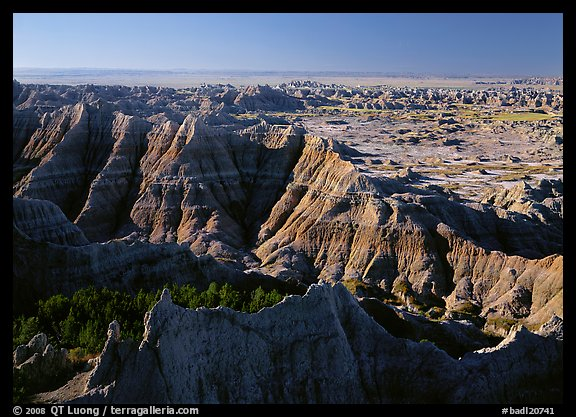 View from Pinacles overlook, sunrise. Badlands National Park (color)