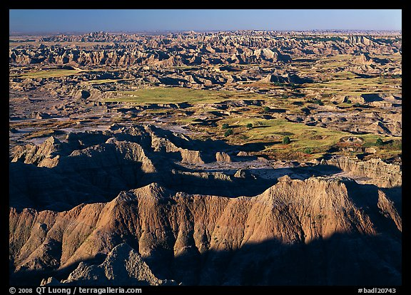 Badlands and prairie seen from above. Badlands National Park (color)