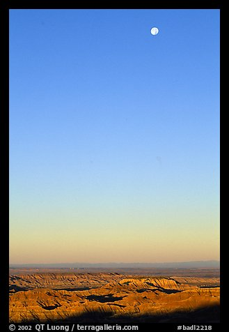 Sky, moon and badlands, sunrise. Badlands National Park (color)