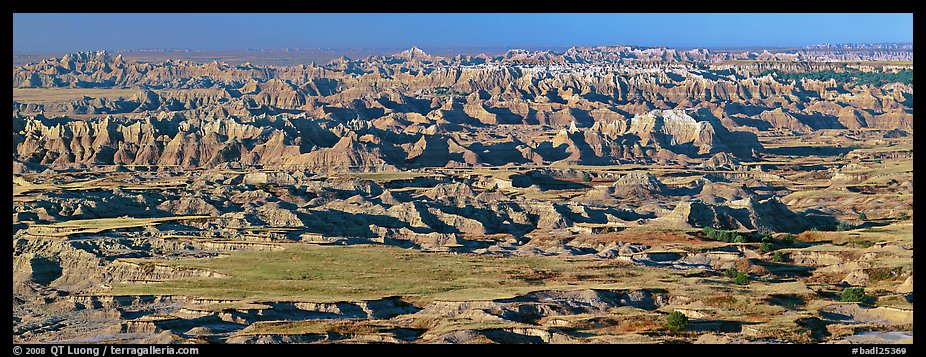 Prairie mixed with badland ridges. Badlands National Park, South Dakota, USA.