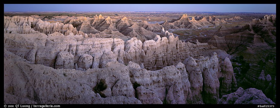 Eroded badland scenery at dusk, Stronghold Unit. Badlands National Park (color)