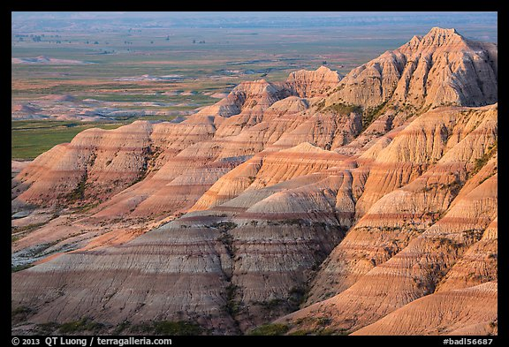 Eroded sedimentary rock layers at sunrise. Badlands National Park (color)