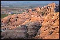 Eroded sedimentary rock layers at sunrise. Badlands National Park ( color)
