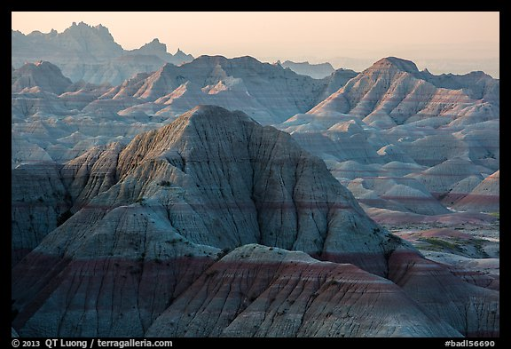 Backlit badlands from Panorama Point. Badlands National Park (color)