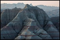 Tall eroded buttes and peaks. Badlands National Park, South Dakota, USA. (color)